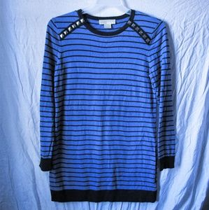 Michael kors blue and black striped sweat shirt